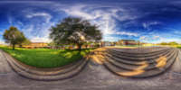 An HDR interactive panoramic image of Waterdome Staircase, Florida Southern College, Lakeland Florida. The photographic images were shot with a Canon 60D.