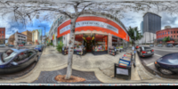An HDR interactive panoramic image of Bookstore Along Ashley, Tampa. The photographic images were shot with a Canon 60D.
