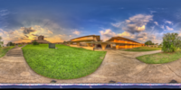 An HDR interactive panoramic image of polk science building, Florida Southern College, Lakeland Florida. The photographic images were shot with a Canon 60D.