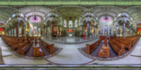 An HDR interactive panoramic image of sacred heart church from under the dome, Tampa. The photographic images were shot with a Canon 60D.