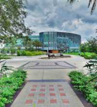 An HDR interactive panoramic image of the exterior of USF's Marshall Center. The Marshall Center is the Student Union Building of the University of South Florida - Tampa. The Marshall Center has restaurants, food court, study area, lounge, and many more amenities.. The photographic images were shot with a Canon S95.