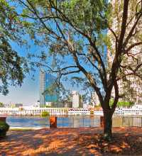 This link leads to a panoramic image shot at the foot of the pedestrian bridge at Kennedy Blvd. University of Tampa side of the Hillsborough river with a view across towards Rivergate Tower.. The photographic images were shot with a Canon S95.